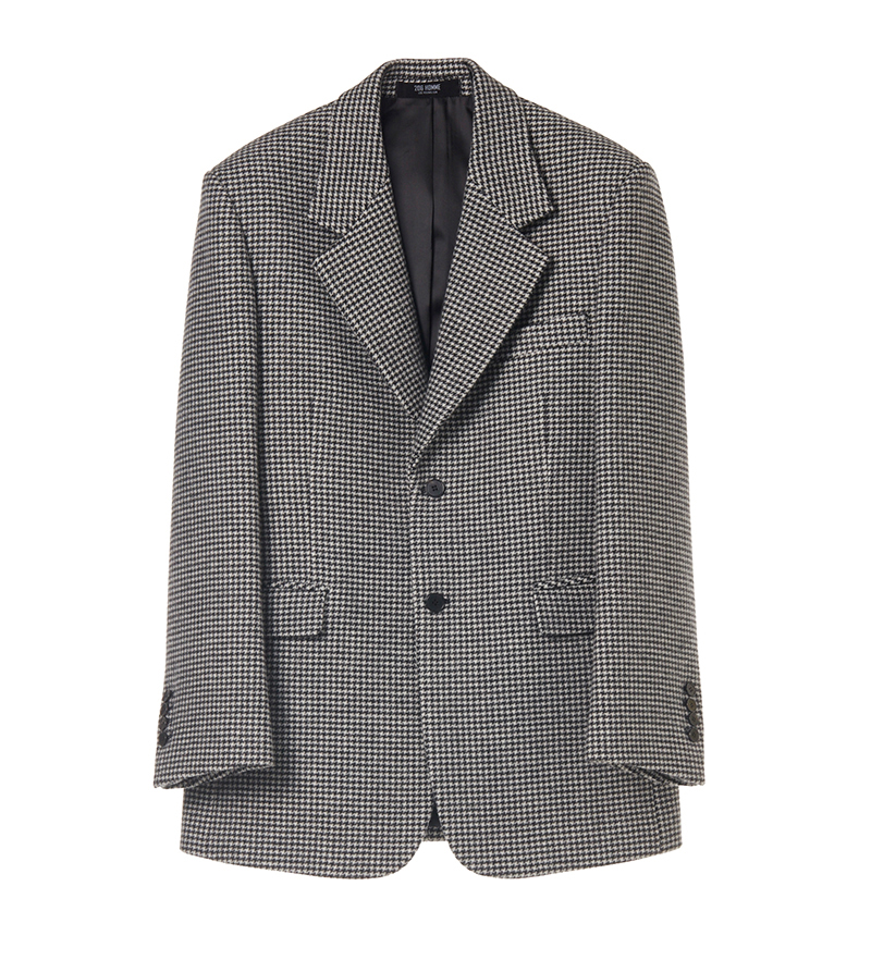 SEMI-OVER FIT™ HOUND-TOOTH CHECK SINGLE JACKET(CASHMERE 20% + WOOL 80%)(JK-80)
