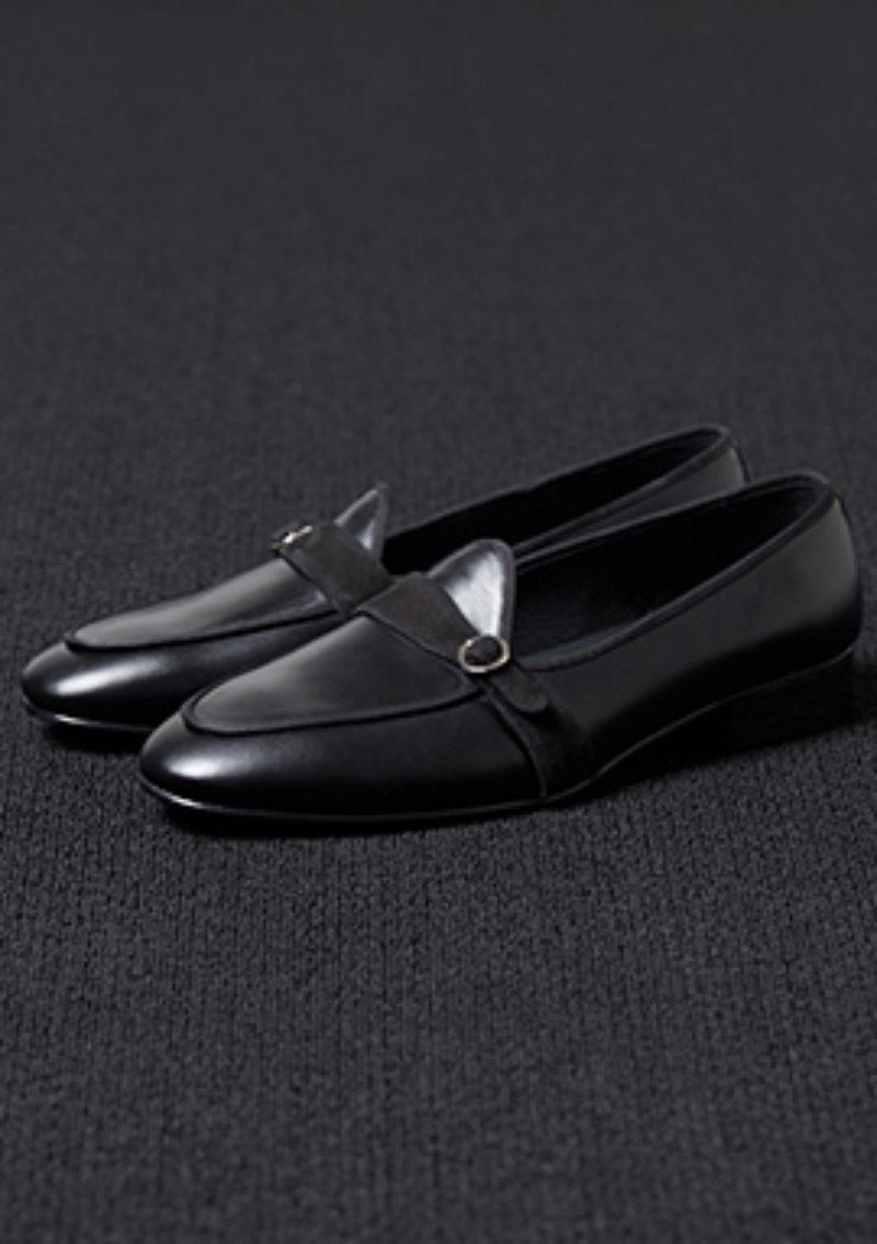[206 HOMME]2020 S/S NEW COLLECTIONUNIQUE MONKSTRAPS BLACK LOAFERS(LEATHER 100%)(남성용 + 여성용)(SS-063)