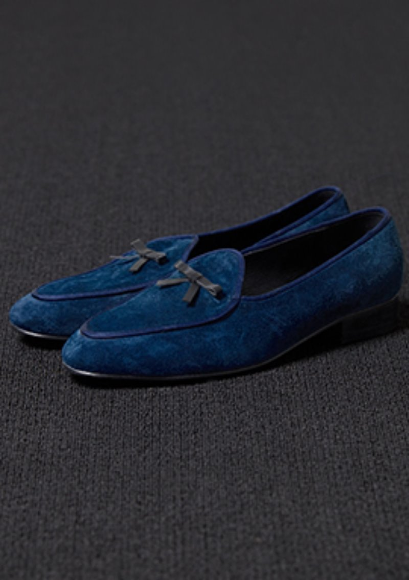 [206 HOMME]2020 S/S NEW COLLECTIONBLUE SUEDE RIBBON DECORATION LOAFERS(SUEDE 100%)(남성용 + 여성용)(SS-067)