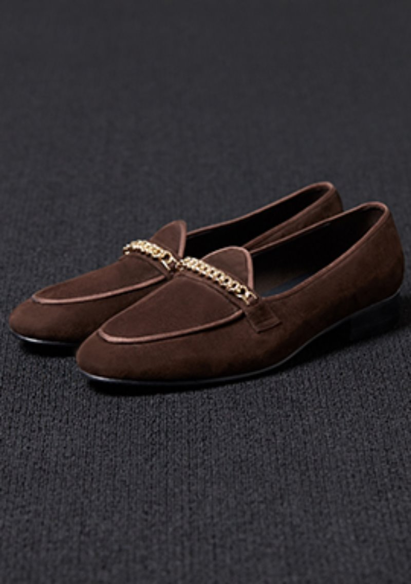 [206 HOMME]2020 S/S NEW COLLECTIONGOLD-CHAIN SUEDE BROWN LOAFERS(SUEDE 100%)(남성용 + 여성용)(SS-064)