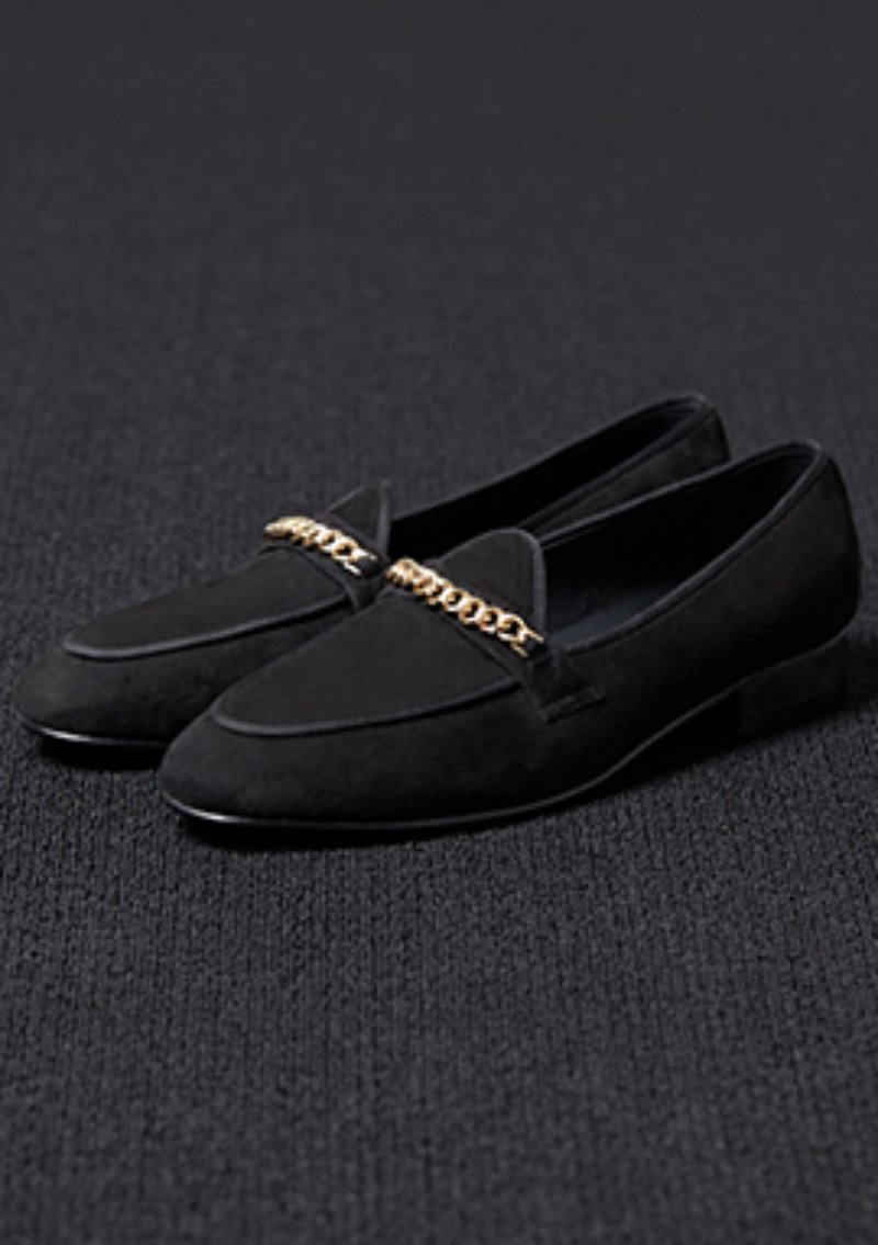 [206 HOMME]2020 S/S NEW COLLECTIONGOLD-CHAIN SUEDE BLACK LOAFERS(SUEDE 100%)(남성용 + 여성용)(SS-065)