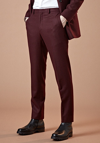 [206 HOMME]2020 S/S NEW COLLECTIONCONTEMPORARY BURGUNDY-WINE WOOL PANTS(최고급 봄 가을용 울100% 원단)(WOOL 100%)(BT-133)