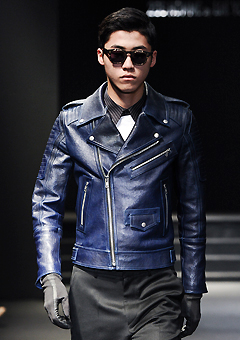 "[206 HOMME]SEOUL COLLECTION""HYBRID""PREMIUM RUNWAY BIKER BLUE-NAVYMAN + WOMAN(LT-011)"