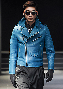 "[206 HOMME]SEOUL COLLECTION""HYBRID""PREMIUM RUNWAY BIKER BLUE-GREENMAN + WOMAN (LT-010)"