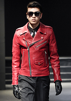 "[206 HOMME]SEOUL COLLECTION""HYBRID""PREMIUM RUNWAY BIKER DEEP-REDMAN + WOMAN"