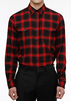 [206 HOMME][베스트상품 재생산 시작]COLLECTIONRED & BLACK GRADATION WESTERN SHIRTS(SH-108)